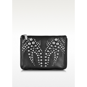 ALEXANDER WANG Black Studded Soft Pebbled Leather Flat Pouch At $495.00
