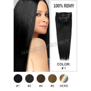 Jet Black 7pcs Straight Full Head Set Clip In Human Hair Extension [CHS0291] At $49.99