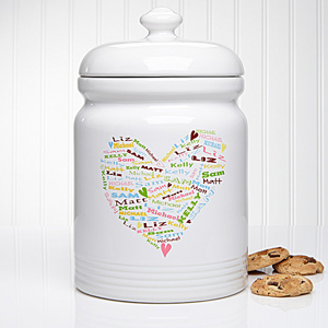 Her Heart of Love Personalized Cookie Jar At $27.95