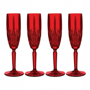 Marquis by Waterford Brookside Red Champagne Flute Set of 4 At $43.99