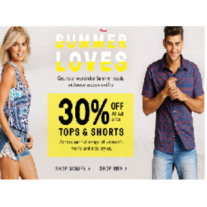 Flat 30% Off on All Full Price Short & Tops