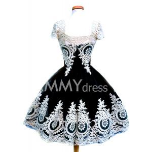 Vintage Women's Lace Square Neck Short Sleeve Dress At $14.99