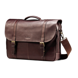 SAMSONITE LEATHER FLAPOVER CASE DOUBLE GUSSET At $103.88