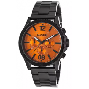CARAVELLE NY  Men's Chronograph Black IP Steel Bracelet Orange Dial At $44.99