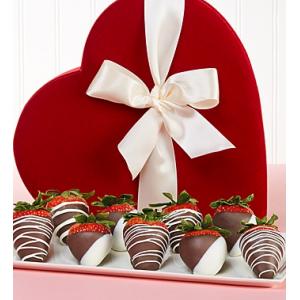 Get Chocolate Strawberries in Valentine Heart Box 9ct At $49.99