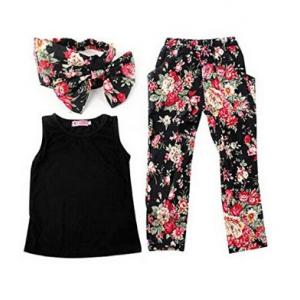 Combo Offer : Buy Jastore Girls Sets 3PCS Sleeveless Shirt/Tops + Floral Pants + Headband Clothes At $12.99