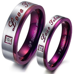 Grab Men's Women's Stainless Steel Couple Rings Wedding Bands Just At $1.59