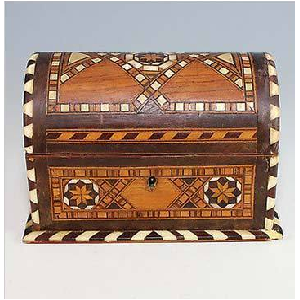 Grab Vintage Indo-Anglican Sadeli Inlaid Box Dome Top At $95.00