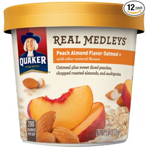 Buy Quaker Real Medleys Oatmeal+, Peach Almond, Instant Oatmeal Breakfast Cereal (Pack of 12) At $12.00