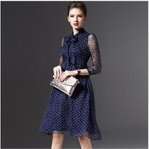 Women's Ladies Chiffon Dot Casual Lace Long Sheath Dresses for $28.95