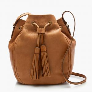 NWT J Crew Tassel Tie Leather Crossbody Bucket Bag At $119