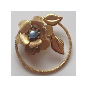 Buy Vintage gold plated textured pin brooch in shape of Flower At $5
