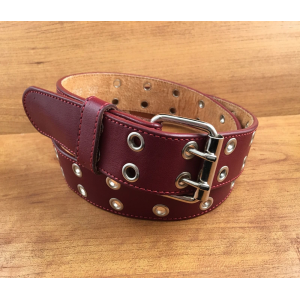 Pink Leather Belt Silver Grommets Double-Prong Buckle Size 36 At $10