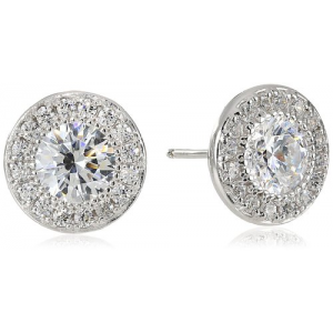 Platinum or Gold-Plated Sterling Silver Swarovski Zirconia Round-Cut Halo Stud Earrings At $27.99