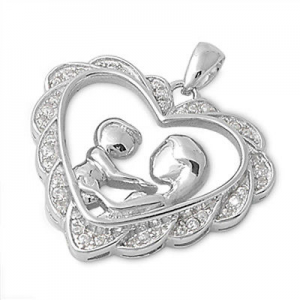 MOTHERS DAY GIFT : Buy Russian CZ Heart .925 Sterling Silver SOLID Pendant At $16.99