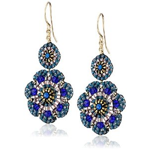 Mother's Day Deal : Get Miguel Ases Blue Quartz and Swarovski Flower Station Drop Earrings At $150