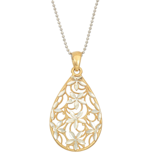 Mothers Day Teardrop Flower Pendant Necklace Gold & Sterling Silver Jewelry Gift At $49.99