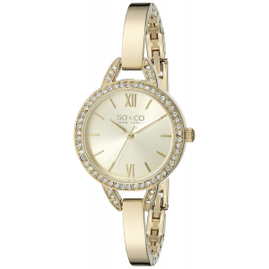 Mother's Day Gift : SO&CO New York Women's 5088.3 SoHo Crystal Accent Quartz Stainless Steel 23K Gold-Tone Bangle Watch At $62.76