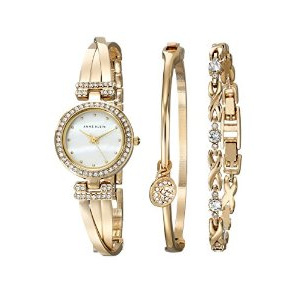 Mother's Day  Special : Buy Anne Klein Women's AK/1868GBST Swarovski Crystal-Accented Gold-Tone Bangle Watch and Bracelet Set At $150