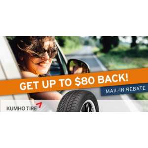 Get up to $80 back on Kumho tires