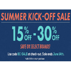 Summer Kick Off Sale : Get Upto 15% - 30% Off on Select Brands