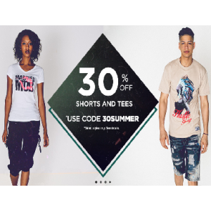 Flat 30% Off on Shorts & Tees