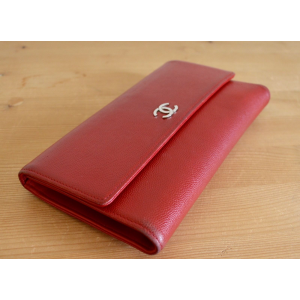 Used Authentic CHANEL CC Logo Etched Long Trifold Wallet Caviar Leather Red At $379
