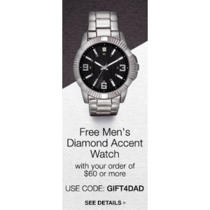 Gift For Dad : Get Free Men's Diamond Accent Watch on Oder of $60 or More