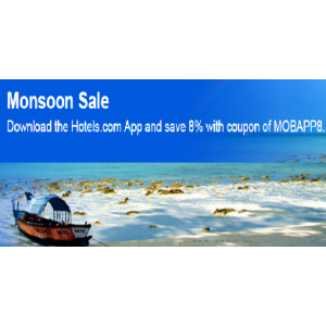 Monsoon Sale : Download Hotels.com App  & Save 8% With Coupons