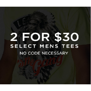 Get 2 For $30 on Selected Men's Tees