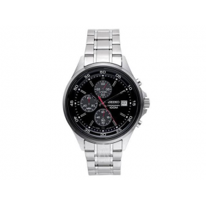 Seiko SKS491 Men's IP Bezel Stainless Steel Black Dial Chronograph Sports Watch At $78.99
