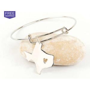 Adjustable State Charm Bangle Bracelet At $14.99