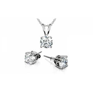 3.00 CTW Stud Earrings and Necklace Set with Swarovski Elements Crystals in 18K White Gold Plating At $5