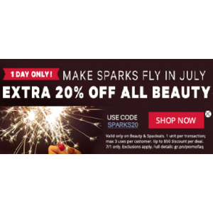 Make Sparks Fly In July & Get Extra 20% Off on All Beauty At Groupon