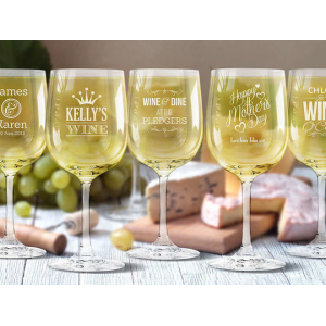 Up to 4 Personalized Etched Wine Glasses At $11.99(living social)