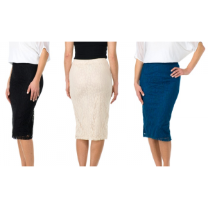 Sociology All-Over Lace Midi Pencil Skirt At $9.97(groupon)
