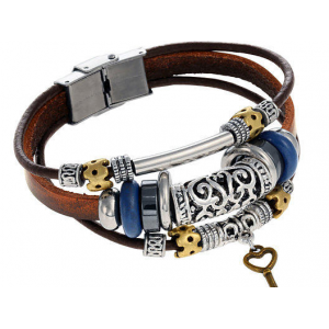 Boho Leather Bracelet with Beads and Key At $17.99(living social)