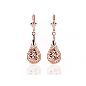18K Rose Gold Laser Cut Drop Down Earrings At 9.99