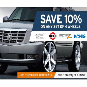 Save 10% Off on Any 4 Set Of Wheels At Tirebuyer