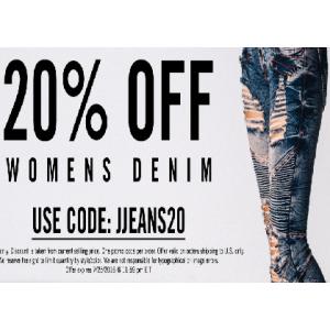 Flat 20 % Off on Women's Denim Jeans At JimmyJazz