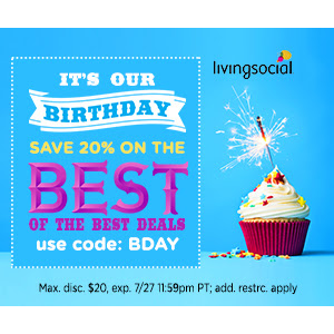 Save 20% off up to 3 deals Using Coupon code At LivingSocial