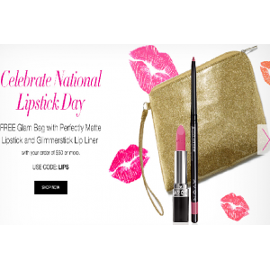 Get Free Glam Bag With Perfectly Matte Lipstick & Glimmerstick Lip Liner on Your Order $50 or More At Avon