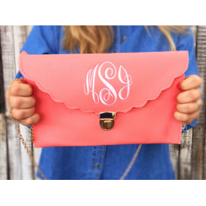 Monogrammed Scalloped Clutch At  $19.99(living social)