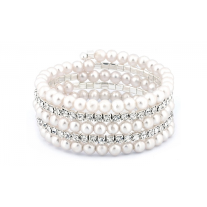 Crystal and Faux Pearl Multi-Row Bracelet with Swarovski Elements At $5