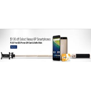 Get $100 Off Select Nexus 6P Smartphones + Free $25 Gift Card & Selfie Stick At Newegg