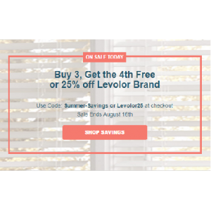 Buy 3, Get the 4th Free or 25% off Levolor Brand At Blinds.com