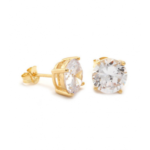 King Ice Gold Clear Round Cut Stud Cz Earring At $20.00 (jimmy jazz )