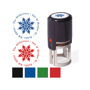 Elegant Snowflake Round Self Inking Personalized Name and Address Stamper with Colored Ink At Currentlabels.com