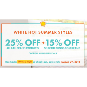White Hot Summer Style : Get 25% Off + 15% Off on All Bali Brand Products At Blinds