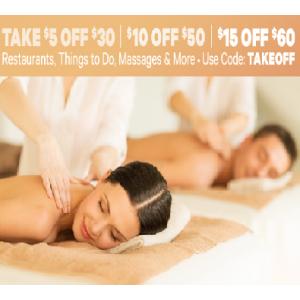 Take $5 Off $30//$10 Off $50//$15 Off $60 on Restaurants,Massage & More At Groupon